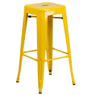 """Flash Furniture Yellow Metal Indoor-Outdoor Barstool 30""""H - CH-31320-30-YL-GG"""
