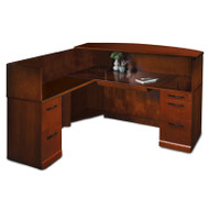 Mayline Sorrento Reception Station Desk with Veneer Counter Left Hand Return Bourbon Cherry - SRCSL-SCR