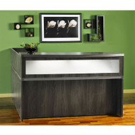 Mayline Aberdeen Reception Desk L-Shaped with Pedestals Gray Steel - AT36-LGS
