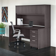"Bush Business Furniture Studio C Desk with Hutch and Mobile Pedestal 72"" Storm Gray - STC011SG"