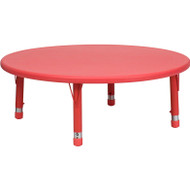 Flash Furniture 45'' Round Height Adjustable Red Plastic Activity Table YU-YCX-005-2-ROUND-TBL-RED-GG