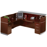 Mayline Napoli Veneer Reception Desk with Return and 1 Box/Box/ File and 1 File/File Pedestal Drawer Sierra Cherry - NRSLBF-CRY