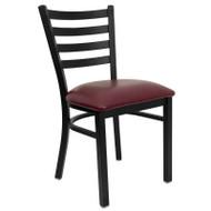 Flash Furniture Ladder Back Metal Restaurant Chair with Burgundy Vinyl Seat - XU-DG694BLAD-BURV-GG