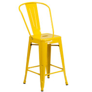 """Flash Furniture Yellow Metal Indoor-Outdoor Counter Height Chair 24""""H - CH-31320-24GB-YL-GG"""