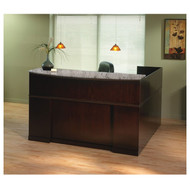 Mayline Sorrento Reception Station Desk with Granite Counter Top Left Hand Return Espresso - SRCSLM