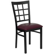 Flash Furniture Window Back Metal Restaurant Chair with Burgundy Vinyl Seat - XU-DG6Q3BWIN-BURV-GG