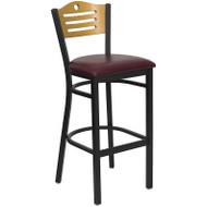 Flash Furniture Slat Back Metal Restaurant Barstool with Burgundy Vinyl Seat and Natural Wood Back - XU-DG-6H3B-SLAT-BAR-BURV-GG