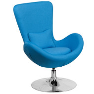 Flash Furniture Egg Series Reception Lounge Side Chair Aqua Fabric - CH-162430-AQ-FAB-GG
