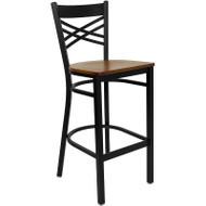Flash Furniture X-Back Metal Restaurant Barstool with Cherry Wood Seat - XU-6F8BXBK-BAR-CHYW-GG