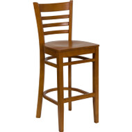Flash Furniture Wood Ladder Back Barstool with Cherry Finish and Cherry Wood Seat - XU-DGW0005BARLAD-CHY-GG