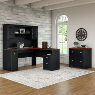 Bush Fairview L Shaped Desk Antique Black with Hansen Cherry Package - FAIPackageA