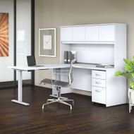 "Bush Business Furniture Studio C Desk L- Shaped with Height Adjustable Return Package 72"" White - STC018WH"