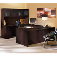 Mayline Aberdeen Executive U-Shaped Desk 72 w/Glass Door Hutch Package Mocha - AT5