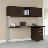 "Bush Business Furniture 400 Series Table Desk 72"" x 30"" with Hutch and 3 Drawer Mobile Pedestal, Mocha Cherry - 400S174MR"