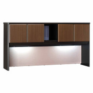"Bush Business Furniture Series A Hutch 72"" Sienna Walnut - WC25573P"