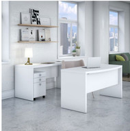 """Bush Echo Bow Front Desk w Credenza and 3-Drawer Mobile Ped 60"""" - ECH010PW"""