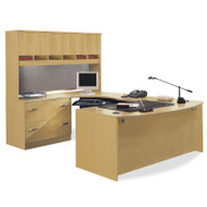 Bush Business Furniture Series C Package Executive U-Shaped Bowfront Desk with 4-Door Hutch - OAKPackageA