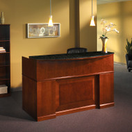 Mayline Sorrento Reception Station Desk with Granite Counter Bourbon Cherry- SRCDM-SCR