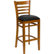 Flash Furniture Wood Ladder Back Barstool with Cherry Finish and Black Vinyl Seat - XU-DGW0005BARLAD-CHY-BLKV-GG