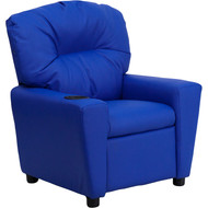 Flash Furniture Contemporary Kid's Recliner with Cup Holder Blue Vinyl - BT-7950-KID-BLUE-GG