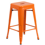 """Flash Furniture Orange Metal Indoor-Outdoor Counter Height Stool 24""""H - CH-31320-24-OR-GG"""