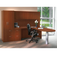 Mayline Aberdeen Executive L-Shaped Peninsula Desk Package Cherry - AT22-LCR