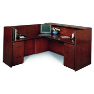 CLEARANCE! Mayline Corsica Veneer Reception Desk L-Shaped with Left Hand Return Mahogany - CRL72