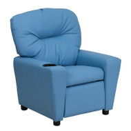 Flash Furniture Contemporary Kid's Recliner with Cup Holder Light Blue Vinyl - BT-7950-KID-LTBLUE-GG