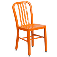 Flash Furniture Orange Metal Indoor-Outdoor Chair (2-Pack) - CH-61200-18-OR-GG