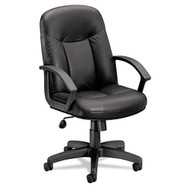 Basyx Black Leather Mid-Back Swivel/Tilt Chair - VL601SB11