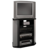 Bush Vision Corner Audio/Video TV Stand Black with Metallic Silver Finish - VS97227A-03