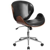 Flash Furniture Mid-Back Walnut Wood Swivel Conference Chair Black - SD-SDM-2240-5-BK-GG