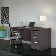"Bush Business Furniture Studio C Desk with 3-Drawer Mobile Pedestal 60"" Storm Gray - STC014SG"
