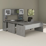 "Mayline Medina Laminate Executive 63"" U-Shaped Desk Package Gray Steel - MNT40LGS"