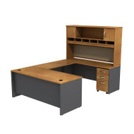 Bush Business Furniture Series C Package U-Shaped Desk with Hutch and 3-Drawer Pedestal Natural Cherry - SRC004NCSU