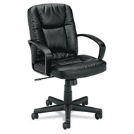 Basyx by HON Black Leather Executive Mid-Back Chair - VL171SB11