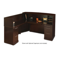 Mayline Sorrento Reception Station Desk with Veneer Counter Left Hand Return Espresso - SRCSL