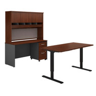 "Bush Business Furniture Series C Executive Height Adjustable Desk 60""W, Credenza, Hutch and Storage Hansen Cherry - SRC107HCSU"