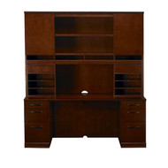 Mayline Sorrento Double Pedestal Credenza and Hutch Package Bourbon Cherry - ST22-SCR