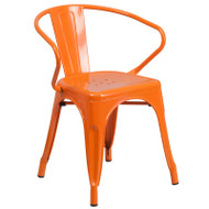 Flash Furniture Orange Metal Indoor-Outdoor Chair with Arms - CH-31270-OR-GG