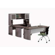 "Mayline Medina Laminate Executive 63"" Desk U-Shaped Package Right Gray Steel - MNT34-LGS"