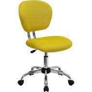 Flash Furniture Mid-Back Yellow Mesh Task Chair with Chrome Base - H-2376-F-YEL-GG