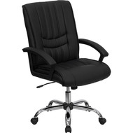 Flash Furniture Mid Back Black Leather Manager's Chair - BT-9076-BK-GG
