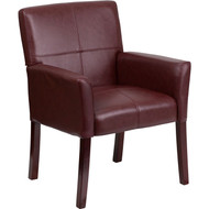 Flash Furniture Burgundy Leather Executive Side Chair or Reception Chair with Mahongany Legs - BT-353-BURG-GG