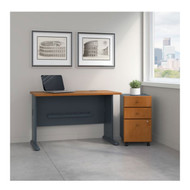 "Bush Business Furniture Series A Desk with Mobile File Cabinet in Natural Cherry  48""W - SRA025NCSU"