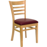 Flash Furniture Wood Ladder-Back Chair with Natural Finish and Burgundy Vinyl Seat - XU-DGW0005LAD-NAT-BURV-GG