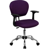 Flash Furniture Mid-Back Purple Mesh Task Chair with Arms and Chrome Base - H-2376-F-PUR-ARMS-GG