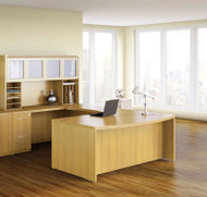 "Mayline Aberdeen Executive U-Shaped Desk 72"" w/Glass Door Hutch Package Maple - AT91-LMA"