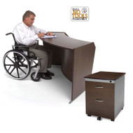 OFM Marque ADA Reception Desk Add-On Station #55490 with Mobile File Cabinet #55106 - 55490Package