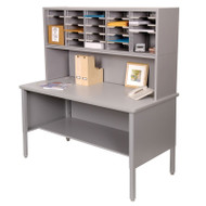 "Marvel 25 Adjustable Slot Literature Organizer with Riser Slate Gray 60""W x 30""D x 60-68""H - UTIL0023"
